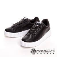 WALKING ZONE輕量超纖布料綁帶柔軟增高休閒女鞋-黑(另有白)