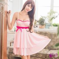 Sexy Cynthia 甜美粉紅柔緞雙層裙襬性感睡衣