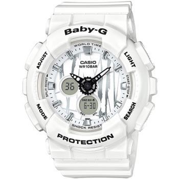 CASIO BABY-G BA-120銀色隨性塗鴉雙顯腕錶-白(BA-120SP-7A)