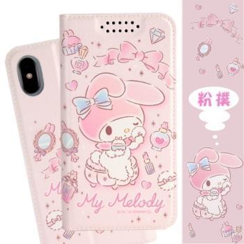 【美樂蒂】iPhone X 甜心系列彩繪可站立皮套(粉撲款)