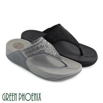 GREEN PHOENIX 壓克力水鑽幾何圖形牛麂皮夾腳拖鞋U25-23329
