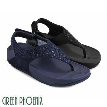 GREEN PHOENIX 壓克力水鑽線條感魔鬼氈牛麂皮夾腳涼鞋U25-23331