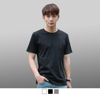 男人幫-中大碼純棉領口加厚圓領短袖素面T恤