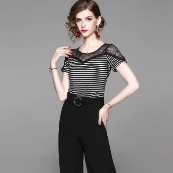 伊凡莎名媛時尚 法式簡約蕾絲條紋上衣+褲裙