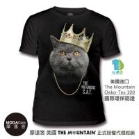 摩達客- (預購) 美國The Mountain都會系列 皇冠饒舌貓 藝術中性修身短袖T恤  個性時尚柔軟舒適高級混紡