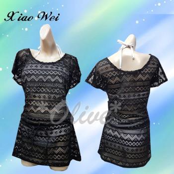 梅林品牌 時尚黑色露肩長版罩衫裙 NO.M7491