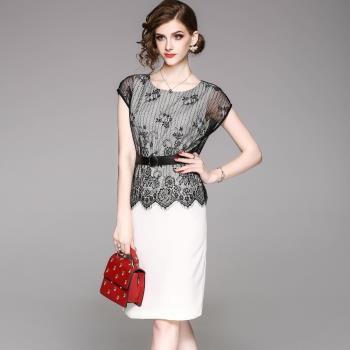 伊凡莎名媛時尚-優雅氣質蕾絲假兩件洋裝