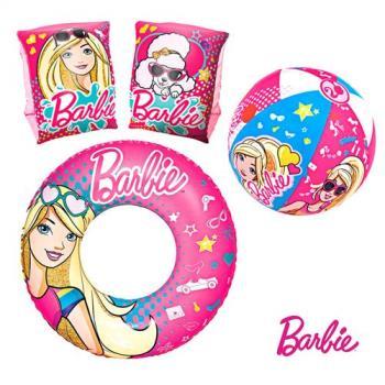 哈街 Barbie俏麗芭比娃娃充氣沙灘球/泳圈/手臂圈三合一組合