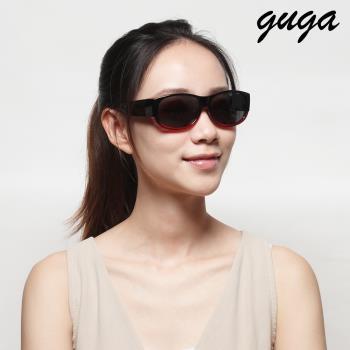 [GUGA]簡約中性時尚偏光掛套式太陽眼鏡墨鏡-J1306-3-漸層紅黑框灰片