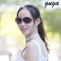 [GUGA]時尚漸層紫紅大框曲線裝飾偏光UV400太陽眼鏡墨鏡-N2405-紫紅框灰片