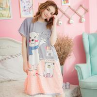 lingling日系 白熊撞色牛奶絲連身裙睡衣(大尺碼)