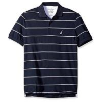 NAUTICA 2018男時尚舒適透氣深藍白條紋短袖POLO
