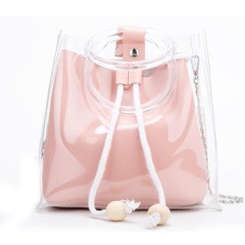 【 LOVE BAG】韓版清新仙女透明子母水桶包 手提包