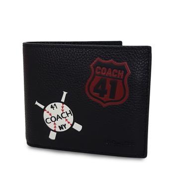 COACH 真皮棒球NO.41拼貼皮夾(附子母證件夾)-黑