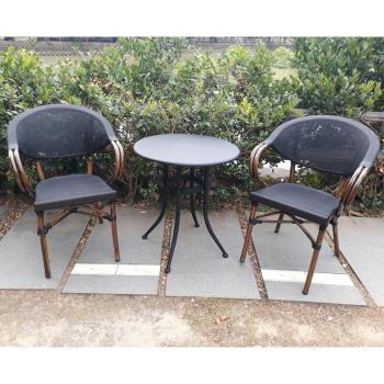 BROTHER 兄弟牌60CM鐵板圓桌+星巴克鋁合金休閒椅一桌二椅組