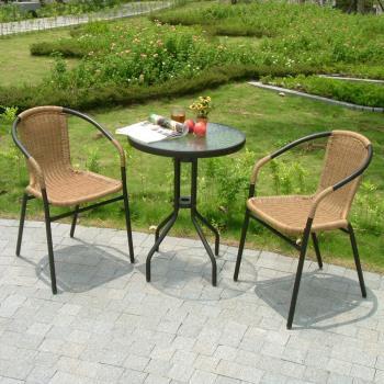 BROTHER 兄弟牌60cm庭院圓桌+PE藤椅(黑色)
