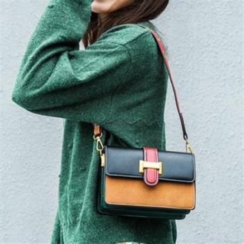 【米蘭精品】肩背包撞色側背包韓版時尚小方包風琴格女包包3色73sb35