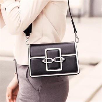 【米蘭精品】肩背包鎖鏈側背包時尚摩登小方包韓版女包包4色73sb27