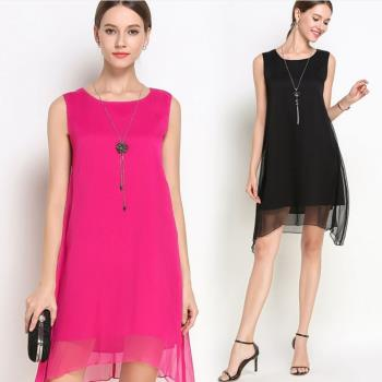 KVOLL-飄逸不對襯裙襬無袖洋裝-M~5XL(共二色)