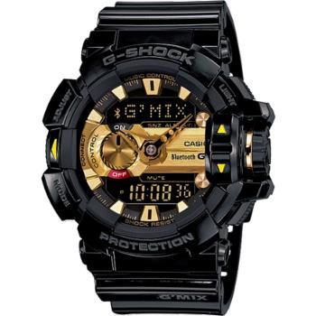 G-SHOCK GMIX GBA-400音樂控制系列錶款-黑X金(GBA-400-1A9)