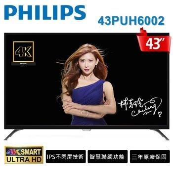 PHILIPS飛利浦  43吋IPS 4K UHD液晶顯示器+視訊盒(43PUH6002)送基本安裝