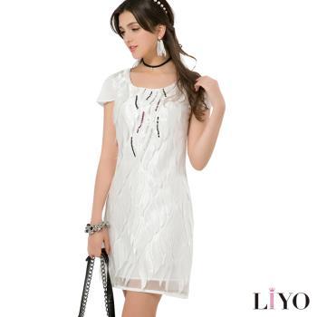 LIYO理優 歐風洋裝V領立體蕾絲洋裝626048