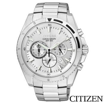 CITIZEN星辰  頂尖菁英三眼計時石英腕錶 AN8010-55A