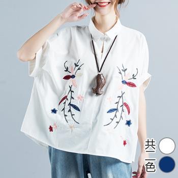 韓國K.W.  襯衫寛大休閒刺繡上衣