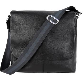 COACH CHARLES 簡單印LOGO翻蓋斜背包(黑)