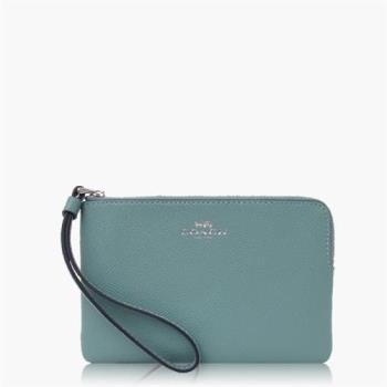 COACH 攜帶便利 十字紋皮革 / 零錢收納 / 手拿包(小款)_碧綠色