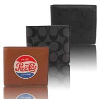 COACH 皮革/PVC防刮短夾