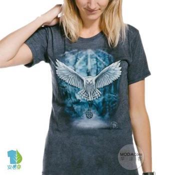 摩達客(預購)美國The Mountain都會系列 喚之貓頭鷹 圓領藝術修身女版短袖T恤   個性時尚  輕透柔軟舒適高級混紡
