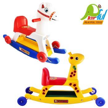 【Playful Toys 頑玩具】搖搖馬+鹿 共兩款造型  二合一 搖搖馬 滑步車 幼兒學步車