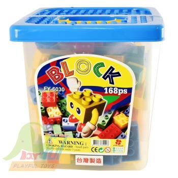 【Playful Toys 頑玩具】方形桶裝大顆粒積木168片台灣製造 積木 樂高相容 優質積木 益智 趣味 兒童玩具