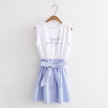 A.C.Y.C 甜美拼色荷葉邊無袖連身裙