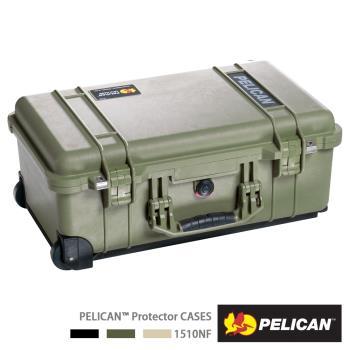 美國PELICAN1510輪座拉桿氣密箱-空箱(綠)