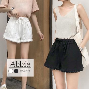 【Abbie】韓版顯瘦抽繩鬆緊短褲