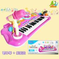【Playful Toys 頑玩具】電子琴+拍拍鼓(拍拍鼓 音樂琴兒童樂器玩具 電子鋼琴 外接mp3 麥克風 二合一琴鼓)