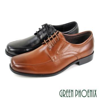 GREEN PHOENIX 大尺碼基本素面V型彈性線條感綁帶全真皮平底皮鞋(男鞋)T9-11639