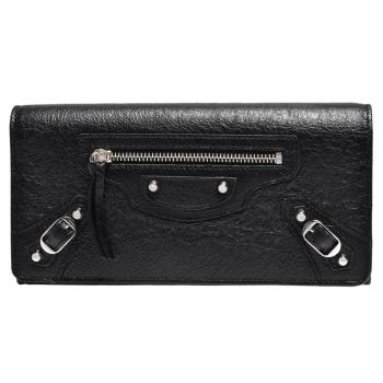 BALENCIAGA 經典MONEY系列亮銀釦小羊皮造型長夾(黑)