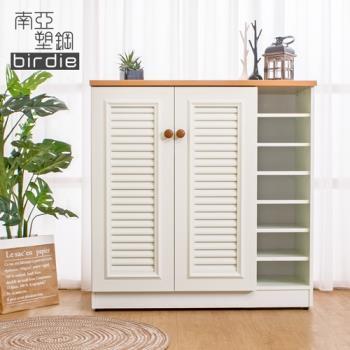 Birdie南亞塑鋼-3.3尺二門右開放塑鋼百葉鞋櫃-原木色+白色