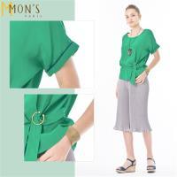 MONS  S曲線釦環式絲質造型上衣(森林綠)