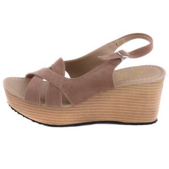 【88%】涼鞋-MIT台灣製 跟高8cm 楔型涼拖鞋 素色純色絨面 交叉鞋面百搭