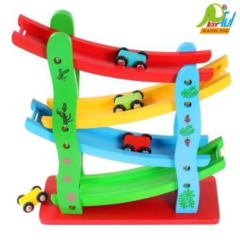 【Playful Toys 頑玩具】木製大滑車(軌道翻滾車 四層軌道滑車 樓梯型滑翔車 極速滑道車 雲霄飛車軌跡車)