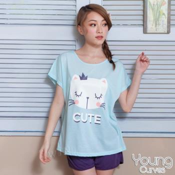 Young Curves 彈性棉質短袖兩件式睡衣(大臉貓咪C01-100548)