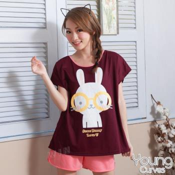 Young Curves 彈性棉質短袖兩件式睡衣(C01-100555眼鏡大白兔)