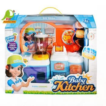 【Playful Toys 頑玩具】電動餐具組(家家酒廚房組 迷你仿真廚具 電動聲光 培養認知能力 兒童玩具)