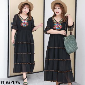 FUWAFUWA-  加大尺碼波西米亞民俗風雪紡短袖長洋裝