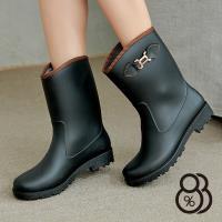 【88%】雨鞋-MIT台灣製純色百搭扣環造型設計高筒舒適雨天必備雨靴