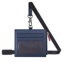 MONDAINE 瑞士國鐵牛皮4卡拉鏈安全釦證件套–藍